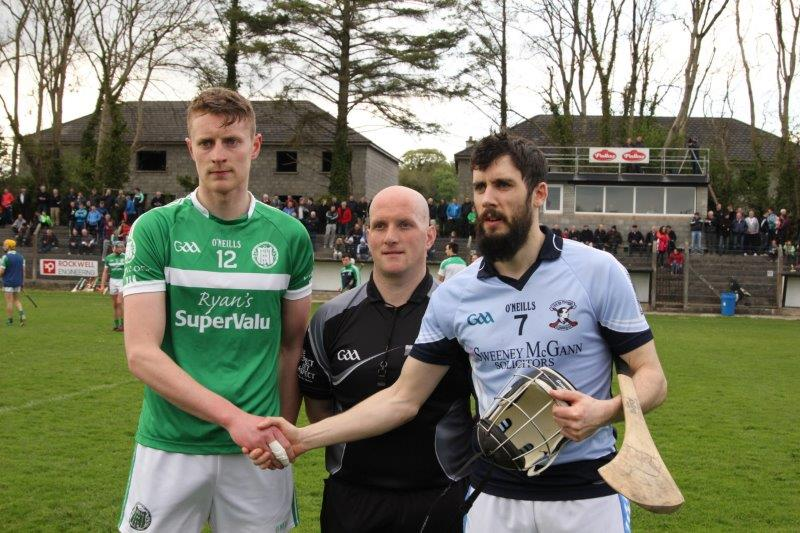 Captain Robbie Egan, Referee Jason Mullins and Na Piarsaigh Captain Cathal King before the opening game of the 2016 Championship in Newcastle West